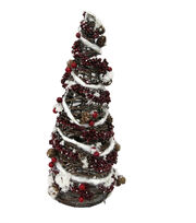 Blooming Holiday Christmas 16'' Rattan Tree Cone with Berry & Pinecone, , hi-res