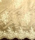 Designer Vault Bridal Fabric - Etched Glass Embroidered Organza Ecru