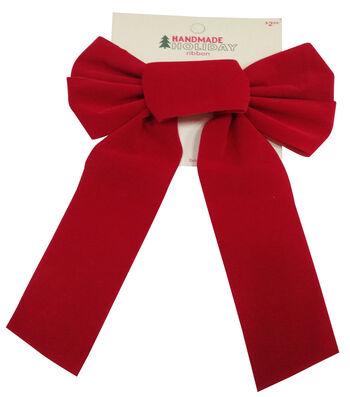 Maker's Holiday Christmas 7''x14'' Velvet Bow-Red