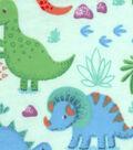 Snuggle Flannel Fabric 42\u0022-Happy Dinos On Green