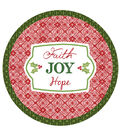 Holiday with Susan Winget Faith Joy Hope 9 inch Round Paper Dinner Plates