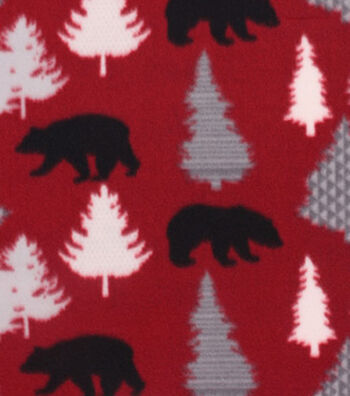 "Blizzard Fleece Fabric 59""-Black Bears On Red"