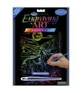 Royal Brush 8\u0022x10\u0022 Rainbow Engraving Art Kit-Howling Wolves