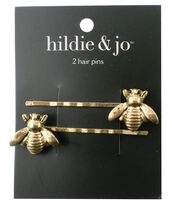 hildie & jo 2 Pack Bee Antique Gold Hair Pins, , hi-res