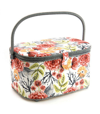 Extra Large Oval Sewing Basket-Coral & Gray Floral