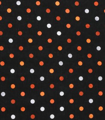 Halloween Cotton Fabric 43''-Gray & Orange Haunting Dots