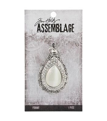 Tim Holtz® Assemblage 1.38''x2.13'' Silver Pendant-Opal Dropulent