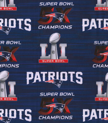 "New England Patriots Cotton Fabric 44""-Superbowl"