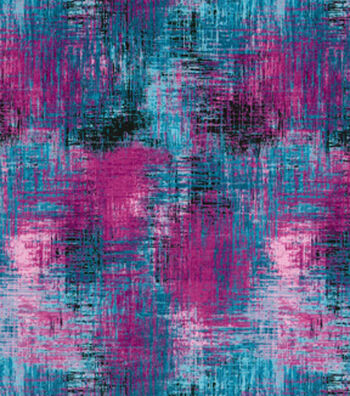 Modern Cotton Fabric 43''-Light Blue & Magenta Crosshatch