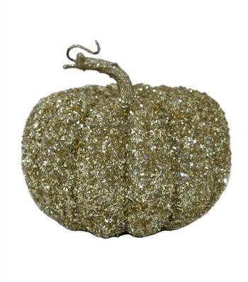 Pumpkin Boutique Halloween Small Glitter Pumpkin-Gold