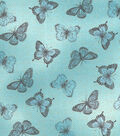 Buttercream™ Cosette Cotton Fabric 43\u0022-Butterfly Metallic Blue