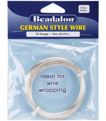 Beadalon German Style Round Wire 22 Gauge 32.8 Feet/Pkg-Silver
