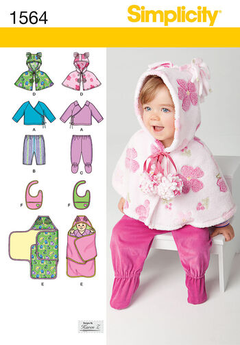 Simplicity Pattern 1564A Infants' Sportswear Outfits-Size XXS-L