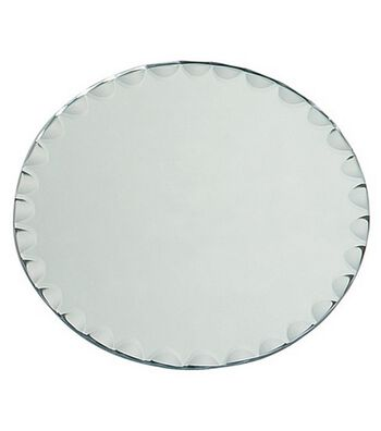 "8"" Round Glass Mirror W/Scallop Edge"
