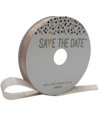 Save the Date 5/8'' X 30' Ribbon-Nude Sheer
