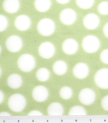 "Blizzard Fleece Fabric 59""-Light Green and White Dot"