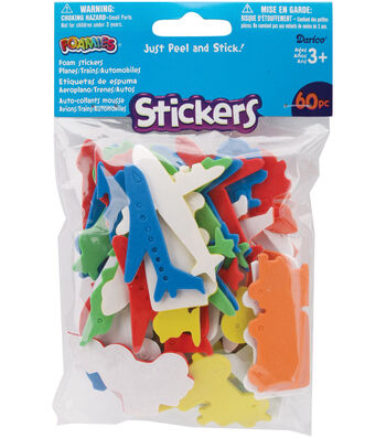 Darice Foam Stickers Planes, Trains, And Automobiles