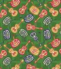 Latin Fabric Music Green Cotton