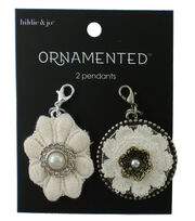 hildie & jo™ Ornamented 2 Pack 1.25''x1'' Flower Fabric Pendants, , hi-res