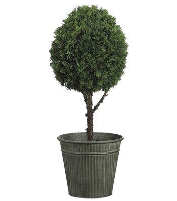 Bloom Room Luxe 26'' Cedar Ball Topiary In Tin Pot-Green