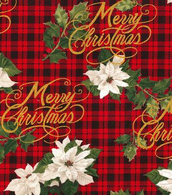 "Christmas Cotton Fabric 44""-Merry Christmas Plaid"