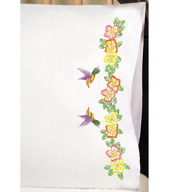"""Stamped Pillowcase Pair 20""""X30"""" For Embroidery-Hummingbird"""