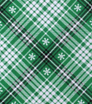 "Snuggle Flannel Fabric 42""-Black & Green Snowflake"