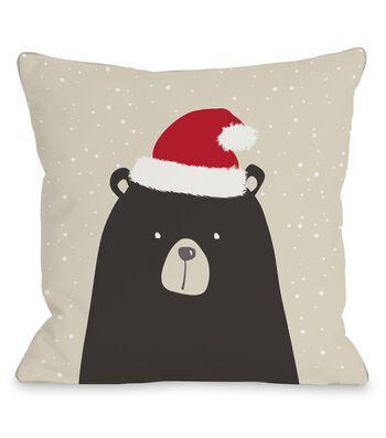 Maker's Holiday Christmas Pillow-Bear with Santa Hat