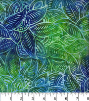"Legacy Studio™ Indonesian Batiks Cotton Fabric 44""-Packed Leaves Teal, , hi-res"