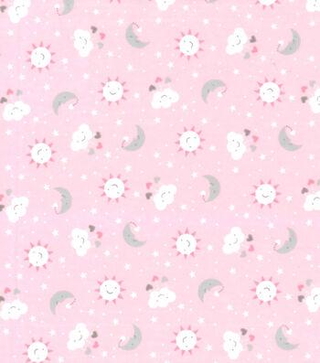 "Nursery Flannel Fabric 42""-Sun Clouds Stars"