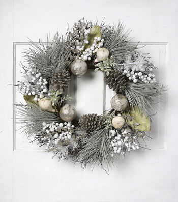 Blooming Holiday Christmas 24'' Grapevine & Pinecone Wreath-Blue & White