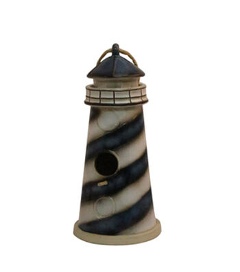 Wild Blooms Ceramic Lighthouse Birdhouse