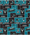 San Jose Sharks Cotton Fabric 43\u0027\u0027-Block