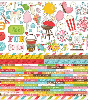 """Summer Bucket List Stickers 12""""X12""""-Word Strips & Elements #2"""