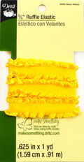 Dritz 5/8\u0022  Ruffle Elastic Neon Yellow 1 Yard