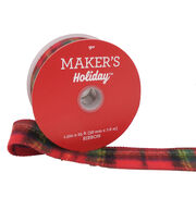 Maker's Holiday Christmas Ribbon 1.5''X25'-Red, Green & Black Plaid, , hi-res