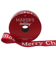 Maker's Holiday Christmas Ribbon 7/8''x9'-Merry Christmas on Red, , hi-res