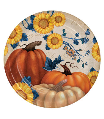 Fall Into Color 8 Pack Paper Dinner Plates-Pumpkin