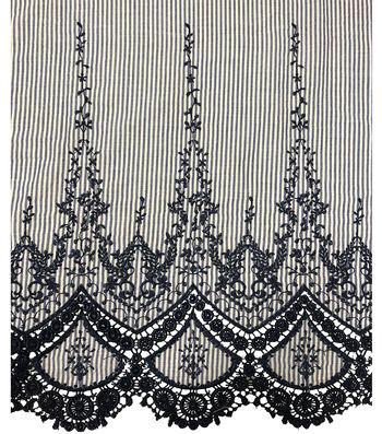 "Endless Sea Embroidered Border Cotton Fabric 45""-Blue & White Stripe"