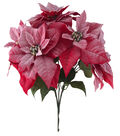 Blooming Holiday Poinsettia With Snow Bush-Red
