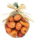 Blooming Autumn Small Pumpkins In Mesh Bag-Orange