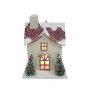 Maker's Holiday Christmas Cream House with Red Roof Ornament, , hi-res