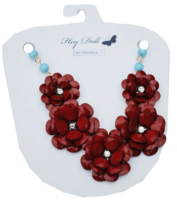 Hey Doll Rosette Crimson and Mint Statement Necklace