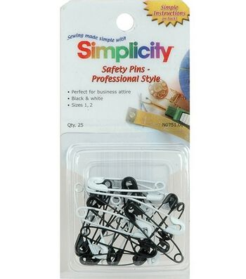 Simplicity Black/White Safety Pins