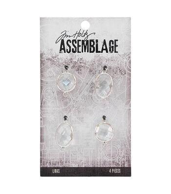 Tim Holtz® Assemblage 4 Pack Chandelier Silver Links-Clear Gem