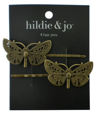 hildie & jo 2 Pack Butterfly Antique Gold Hair Pins