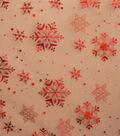 Sew Sweet Organza Fabric 57\u0022-Snowflake Red Foil