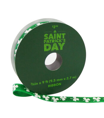 St. Patrick's Day Ribbon 3/8''x9'-White Shamrocks on Green Glitter