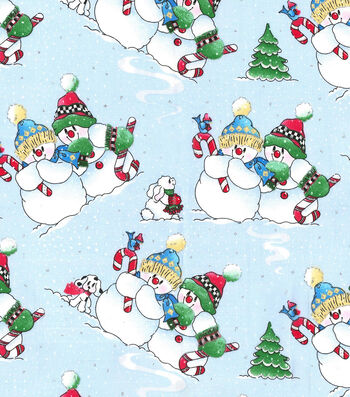 "Christmas Cotton Fabric 44""-Glitter Playful Snowmen"