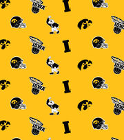 "University of Iowa Hawkeyes Cotton Fabric 44""-Yellow All Over, , hi-res"